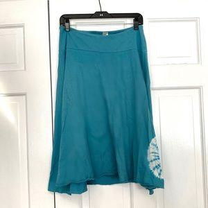 Prana Teal Blue Midi Skirt Size Small